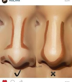 how to contour your nose - makeup http://www.justtrendygirls.com/how-to-contouring-and-highlighting-your-face-with-makeup/
