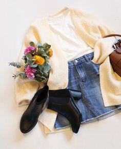 Sweet mood #Pimkie Tshirt blanc + gilet en maille chaude + jupe en jean + sac seau