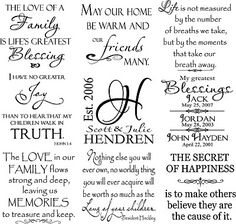 Great sayings for scrapbook designs and birthday cards.