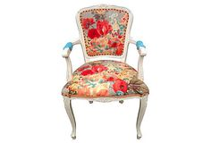 How to...Reupholster Old Chairs with New Fabric (Inspiration) Vintage French Arm Chair via OrangeNolive on Etsy