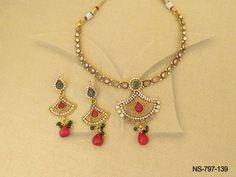 NS-797-139 || ManekRatna Delicate Antique Necklaces