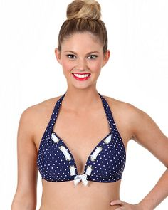 DOTS AMORE HALTER TOP NAVY ready to wear no-dept tops fashion