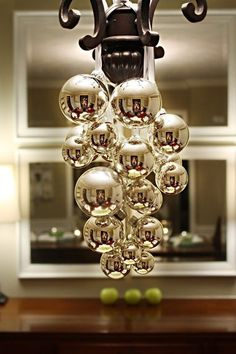 DIY Christmas Chandelier and cute christmas table set ups. Christmas Time Is Here, Noel Christmas, 12 Days Of Christmas, Little Christmas, Winter Christmas, Christmas Ornaments, Christmas Balls, Silver Ornaments, Hanging Ornaments