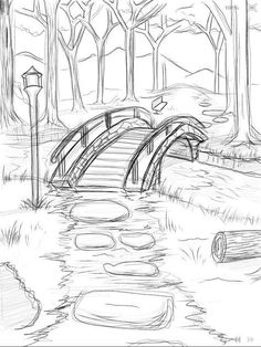 bridge_over_he_river_wip ___ × - Zeichnung ideen bleistift - Drawing Pencil Art Drawings, Easy Drawings, Drawing Sketches, Drawing Ideas, Easy Nature Drawings, Drawing Tips, Pencil Drawing Tutorials, Pencil Sketches Of Nature, Pencil Sketches Simple