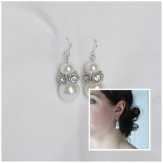 Large Bridal Pearl and Rhinestone Earrings by AModestBitOfFlair