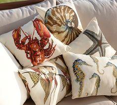 Sea-Life Outdoor Pillows #potterybarn