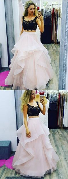 Upd0279, 2 pieces, black $ pink, A-line, tulle $ lace, for teens, ball dress, prom dress, homecoming dress