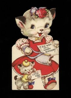 Vintage-Kitty-Cat-Mother-and-Kitten-Child-Gibson-Diecut-Birthday-Greeting-Card