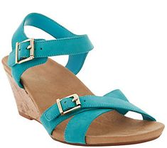 Vionic Orthotic Ankle Strap Suede Wedges - Anka