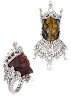 "Pendant King of Crocidolior, platine, white gold, diamonds and quartz ""Tiger Eye"".  Ring Queen of Crocidoline, in platine, diamonds and red crocidolite.  By Victoire de Castellane for Dior Jewelry"