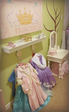 Idea for dress-up area by door? Or on side of wardrobe Princess Dress Up, Little Princess, Toddler Princess Room, Space Princess, Dress Up Area, Dress Up Stations, Princess Bedrooms, Girls Bedroom, Bedroom Ideas