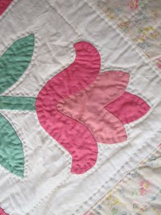 Antique aplique quilt Basket of Flowers (Detail). Sold on Ebay by evintage.