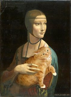 Lady with an Ermine by Leonardo da Vinci Artist Inserts Her Fat Cat Into Famous Classical Paintings Russian artist Svetlana Petrova photoshops her awesome cat named Zarathustra into iconic and famous works of art… Paintings Famous, Classic Paintings, Famous Art, Cat Paintings, Art Ninja, Lady With An Ermine, James Abbott Mcneill Whistler, Fat Cats, Cat Drawing