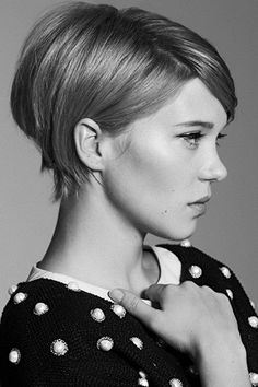 pixie cut - A short cropped bob with long bangs and volume at the crown is a great way to slim a wide face. Read more: http://www.dailymakeover.com/trends/hair/fall-haircuts-2014/#ixzz3E0gvTCmV