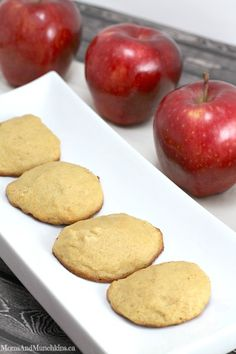 Applesauce Cookies - These taste like muffin tops and they are so delicious! Soft cookies, easy to make recipe and full of apple flavor. They have my toddler's stamp of approval.