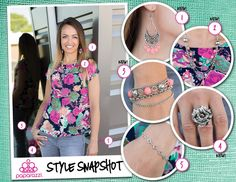 { Style Snapshot } Floral patterns are a hot trend this summer and what better way to highlight your summer outfit then by finding that perfect accessory that complements those bold floral prints? We all know April showers bring May flowers, and this pretty in pink assemble complements the green floral pattern while capturing the rosy glow of summer bliss.  Ready to get your hands on some summer steals and feed your #5dollarhabit? Shop online anytime at www.paparazziaccessories.com