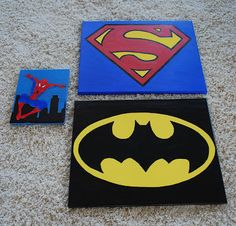 Superhero Canvases - NEED to paint some of these for Trey's room!