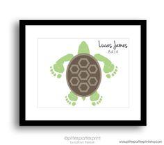 Sea Turtle Baby Footprint Nursery Art Print - Personalized Nautical Nursery, Under the Sea Nursery, Ocean Nursery Decor, Beach Wall Art