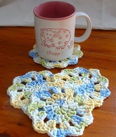 crochetcoasters by alien_sunset, via Flickr. no pattern. Can look at and figure out. Stash buster.