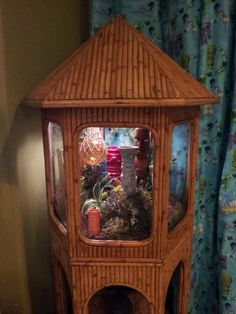Added Rattan fishless Aquarium & Shag drapes - J & K Tiki Room -- Tiki Central