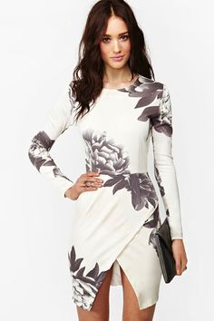 Nasty Gal Madison Floral Dress -- maybe a thin lace skirt underneath? 'Cause that hemline...