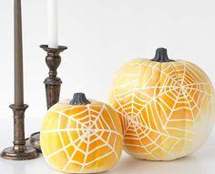 20 Easy Ways To Decorate A Pumpkin For Halloween: DIY Spider Web Pumpkin