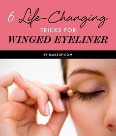 Winged eyeliner is a classic eye makeup look, but it's also one of the toughest to master, This guide will help you learn how to get the perfect winged eyeliner with 6 simple tricks. Perfect Winged Eyeliner, Winged Eyeliner Tutorial, Simple Eyeliner, How To Apply Eyeliner, Winged Liner, Cat Eye Makeup, No Eyeliner Makeup, Eyeliner Pencil