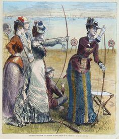 """Reinhart, C.S.  ""Archery practice on Staten Island"",  Women on archery practice"""