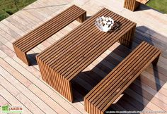Index of /img/meubles-salons-teck-design Outdoor Table Plans, Wooden Outdoor Table, Diy Outdoor Furniture, Outdoor Dining Set, Garden Furniture, Outdoor Decor, Backyard Garden Design, Patio Design, New Patio Ideas