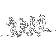 Illustration of Kids running back to school with bags. Continuous line drawing. Vector illustration on white background vector art, clipart and stock vectors. Kids Running, Running Back, Bag Illustration, Continuous Line Drawing, Banner Printing, Facebook Image, Back To School, School Kids, Image Photography