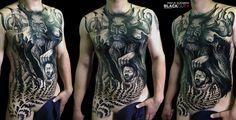 Leshy by Pavlik Gusarov @_gusarov @blackouttattoocollective #blackouttattoocollective #gusarov #bigtattoo #tattoo #black #leshy #deadhead #traditional #neotraditional