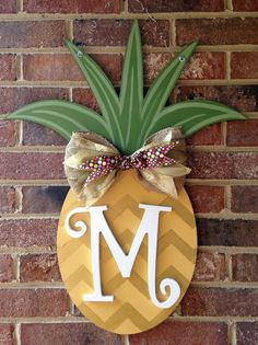 Pineapple Door Hanger Gold Chevron Pineapple Burlap Ribbon and Wooden Letter (55.00 USD) by MyBelovedReclaimed