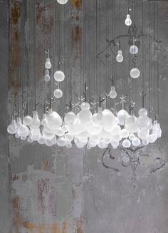 Design indirect light glass Chandelier GROWING VASE by Lasvit, design by Nendo @Lasvit