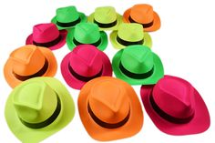 Amazon.com: Novelty Place® [Party Stars] Neon Color Plastic Gangster Fedora Party Hats for Adult Teens and Kids (Pack of 24): Toys & Games