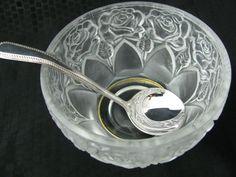 WILLIAM ADAMS Rose Lead #Crystal #Bowl #West #Germany #SilverPlate Sugar #Spoon #Italy #WilliamAdams #icecreambowl