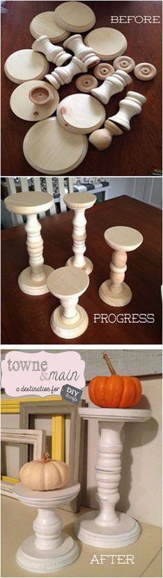 So I wanted to get some candle sticks for my dining room and really didn't see anything I liked, plus I wanted to do it on a budget, so here is what I did! Went to Michaels and in their wood workin...