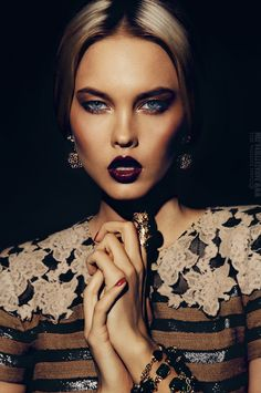 Daria Zaytseva Photography - so in love with those burgundy lips + the dress + her nails