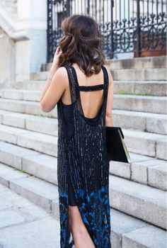 Chic low-back sequin slip dress