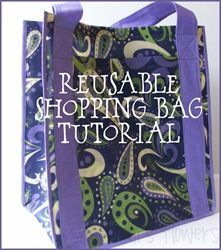 reusable grocery bag tutorial- has a pocket + binding to hide any raw edges