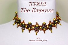 Choker The Empress PDF tutorial in gold and bronze by DESIBEADS