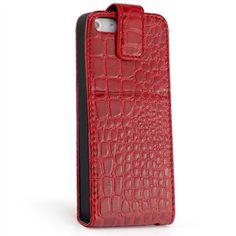 Kroko Flip Stand Case für Apple iPhone 5 & 5S Rot