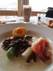 BETTYS 65 degree egg with sauteed mushrooms and Kintoa ham, St Betty, Hong Kong