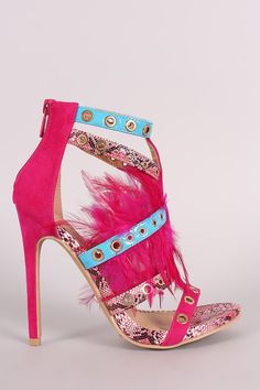 Strappy Grommets And Feather Embellished Stiletto Heel – Style Lavish