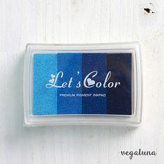 Tinta para sellos scrapbooking multicolor azul