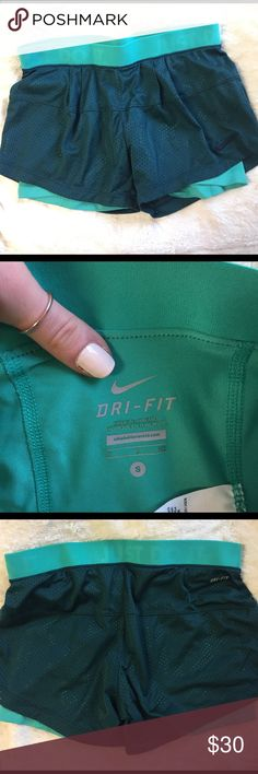 Nike Dri-Fit shorts Practically new! Adorable colors with built in spandex. 💋 feel free to make offers! Nike Shorts