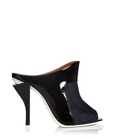 Black leather peep toe heels - Fendi