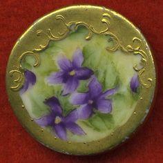 HUGE 38mm PORCELAIN button c.1890-1920 ARTIST SIGNED !! | eBay