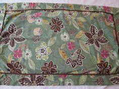 KING Size Sham ~ BATIK Cotton Green & Brown, Floral  ~ Single Shams #Unbranded #Batik
