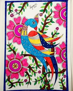Madhubani Paintings Peacock, Kalamkari Painting, Madhubani Art, Cool Art Drawings, Art Drawings Sketches, Worli Painting, African Art Paintings, Indian Folk Art, Diy Canvas Art