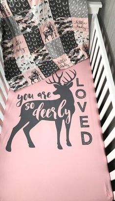 Crib/Toddler Bedding , Baby , Woodland , Dear, Moose , Camo ,Hunting , Buck ,Deerly Loved , Arrow , Baby Bedding , Babylooms Crib Bedding